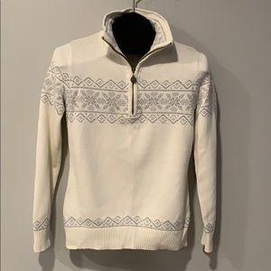 Ladies Eddie Bauer Snowflake Zipper Sweater Sz S